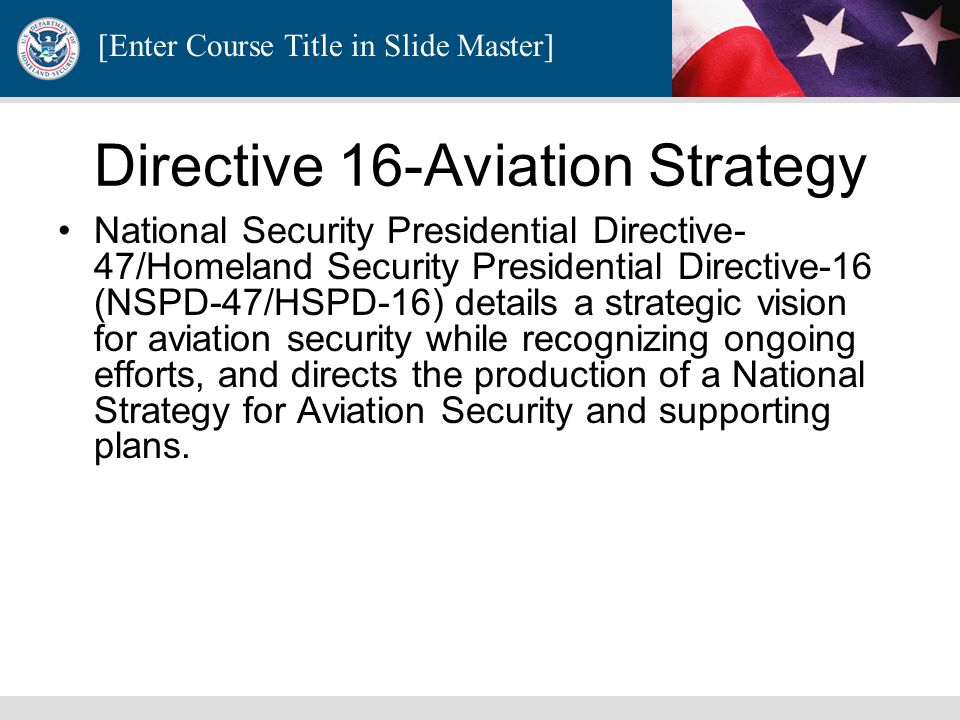 Directive 16-Aviation Strategy