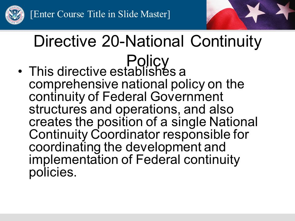Directive 20-National Continuity Policy