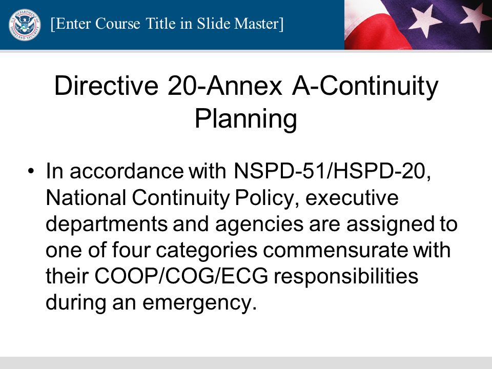Directive 20-Annex A-Continuity Planning
