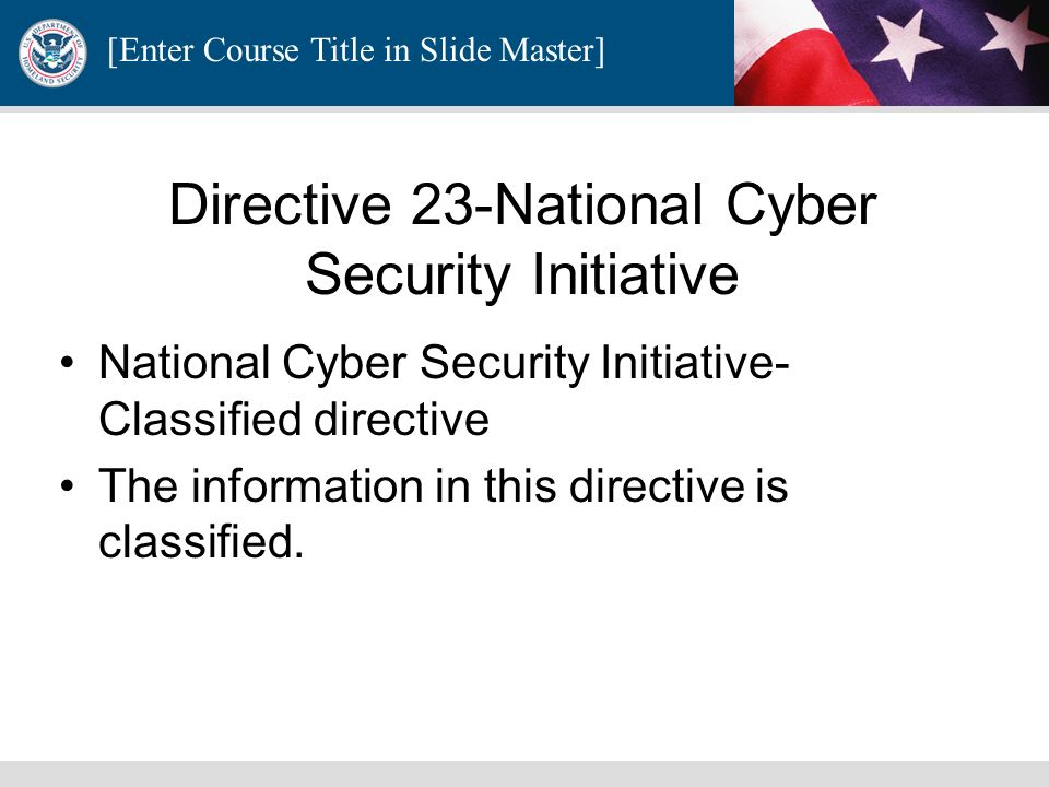 Directive 23-National Cyber Security Initiative