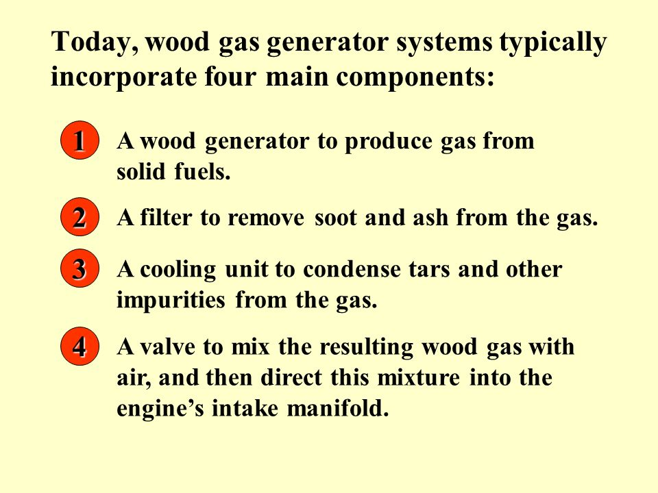 Today, wood gas generator systems typically incorporate four main components: