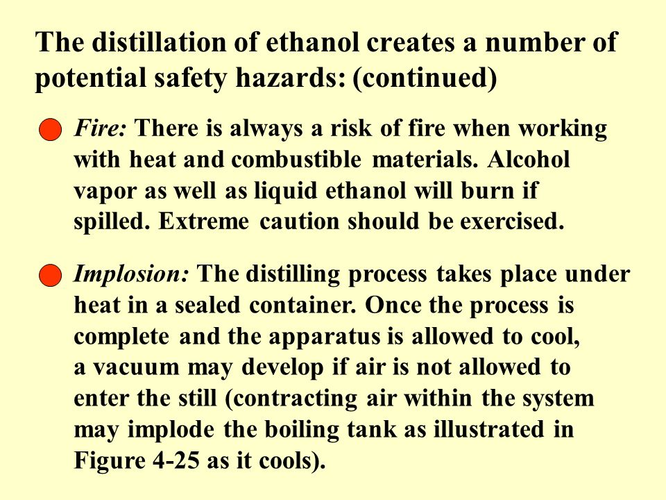 The distillation of ethanol creates a number of potential safety hazards: (continued)