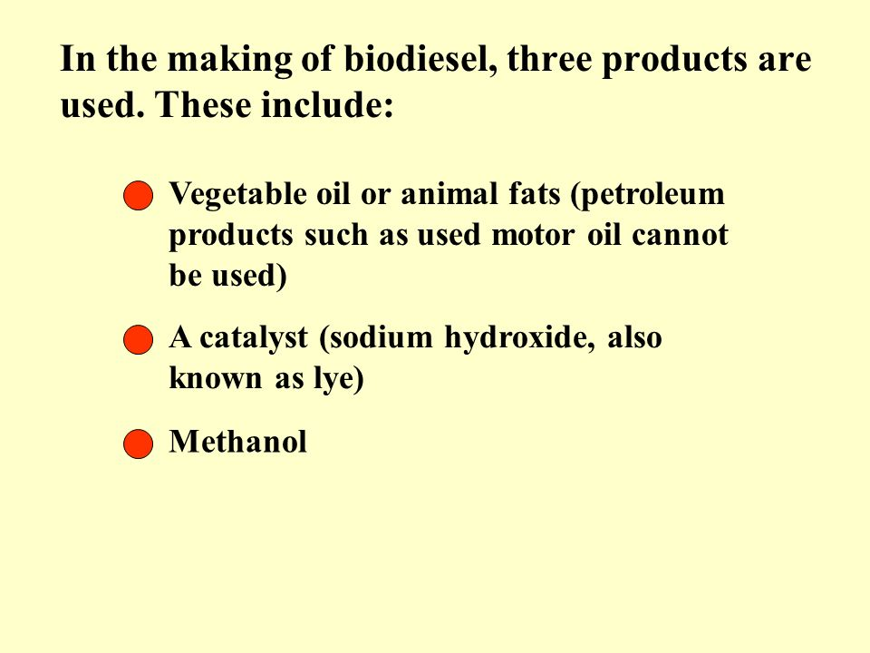 In the making of biodiesel, three products are used. These include: