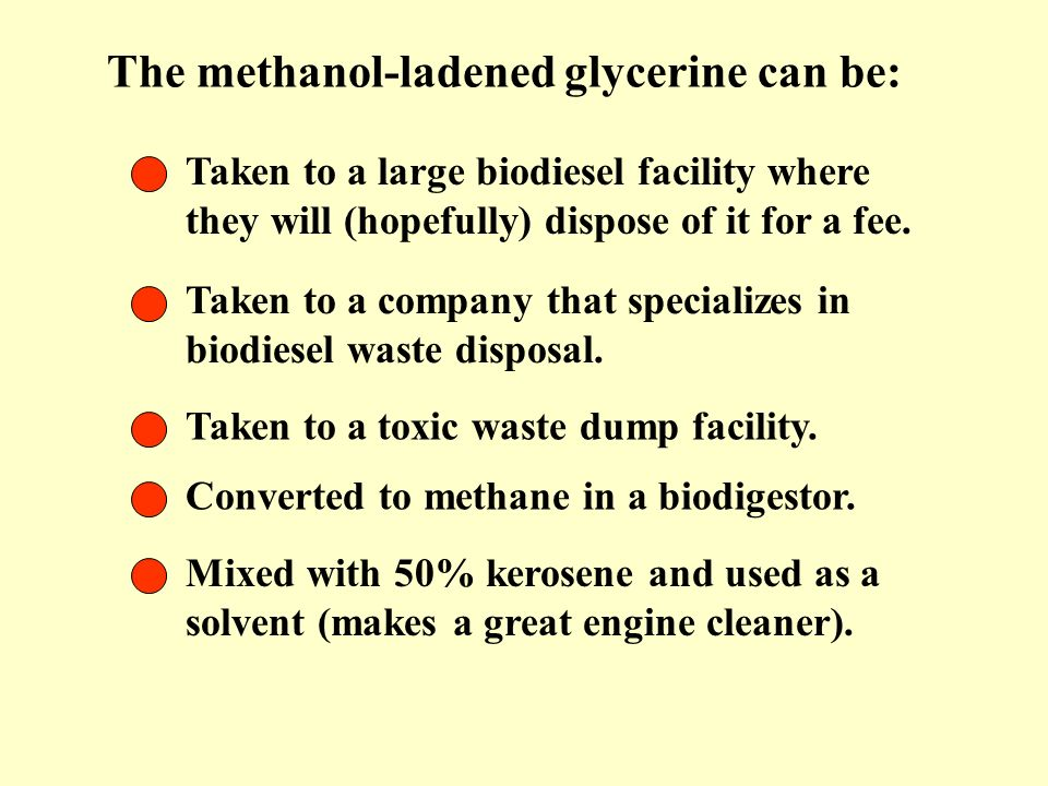 The methanol-ladened glycerine can be: