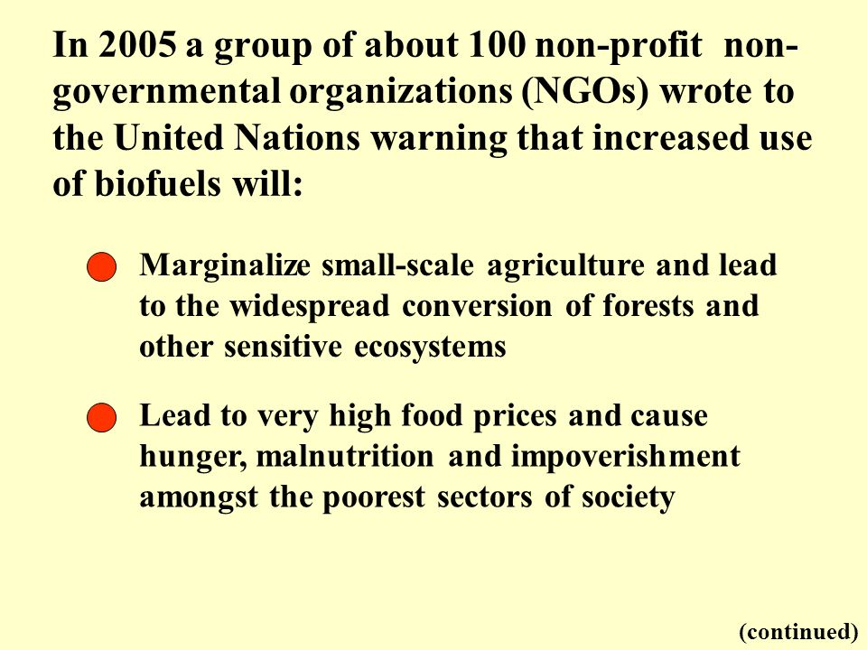 In 2005 a group of about 100 non-profit non-governmental organizations (NGOs) wrote to the United Nations warning that increased use of biofuels will: