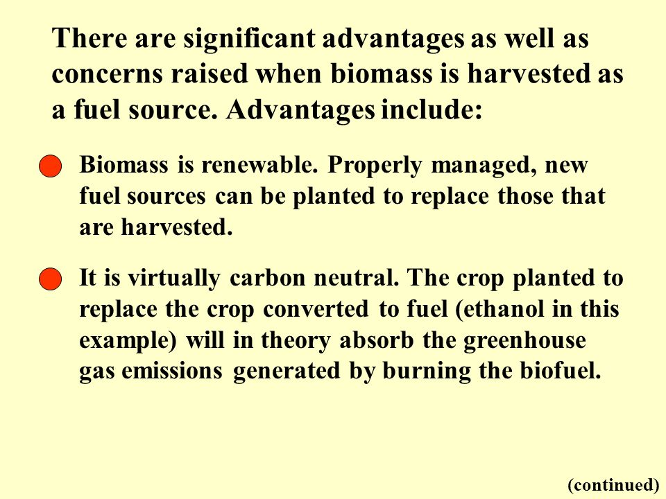 There are significant advantages as well as concerns raised when biomass is harvested as a fuel source. Advantages include: