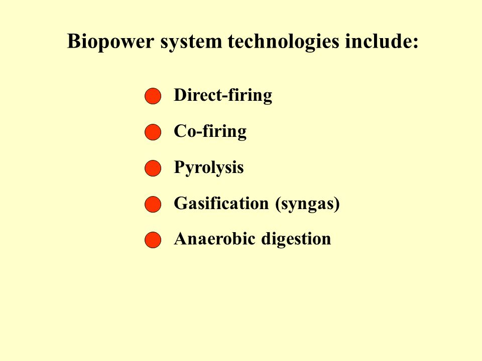 Biopower system technologies include: