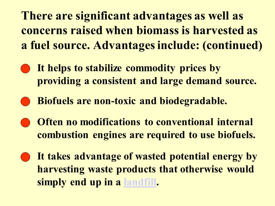 There are significant advantages as well as concerns raised when biomass is harvested as a fuel source. Advantages include: (continued)
