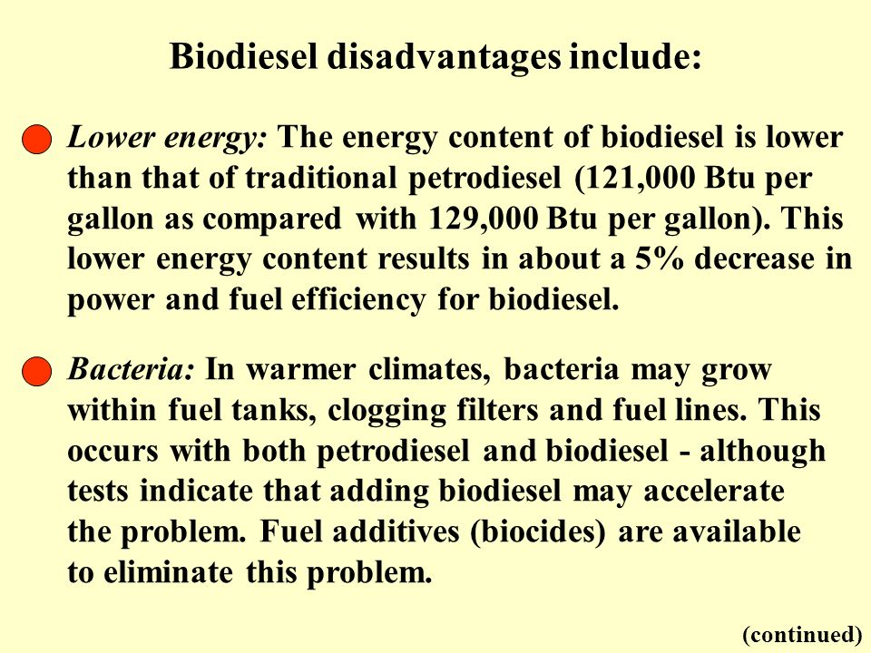 Biodiesel disadvantages include: