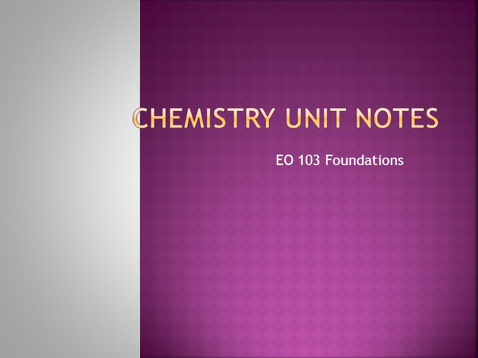 Chemistry Unit Notes EO 103 Foundations