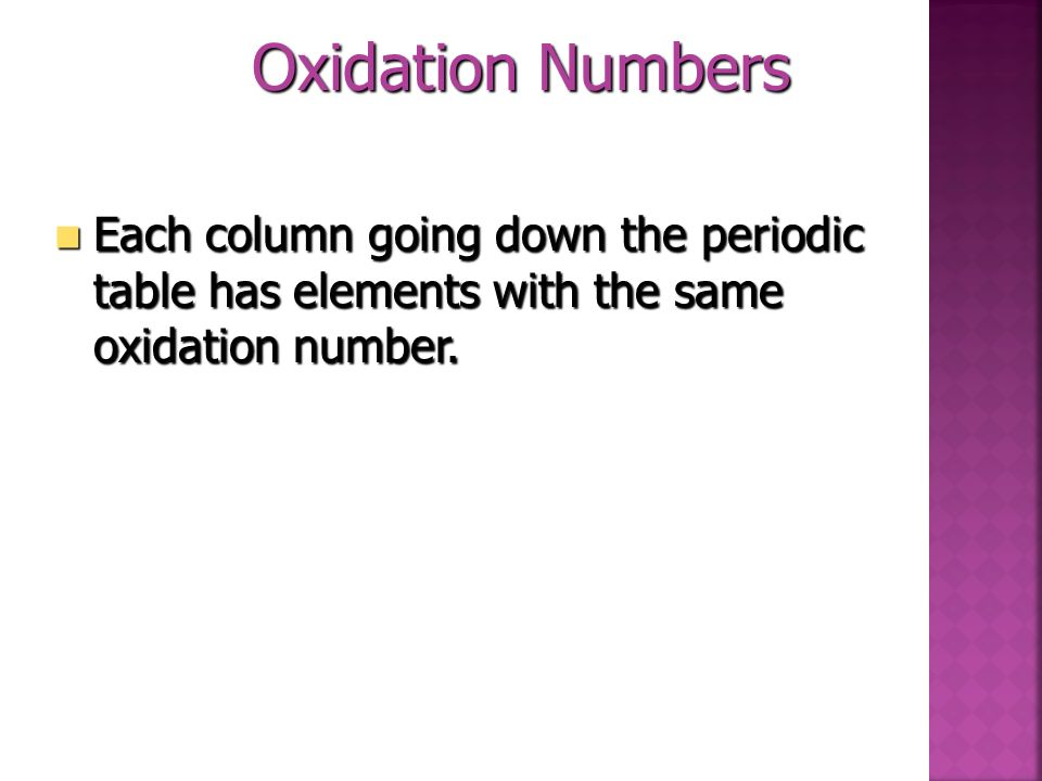 Oxidation Numbers Each column going down the periodic table has elements with the same oxidation number.