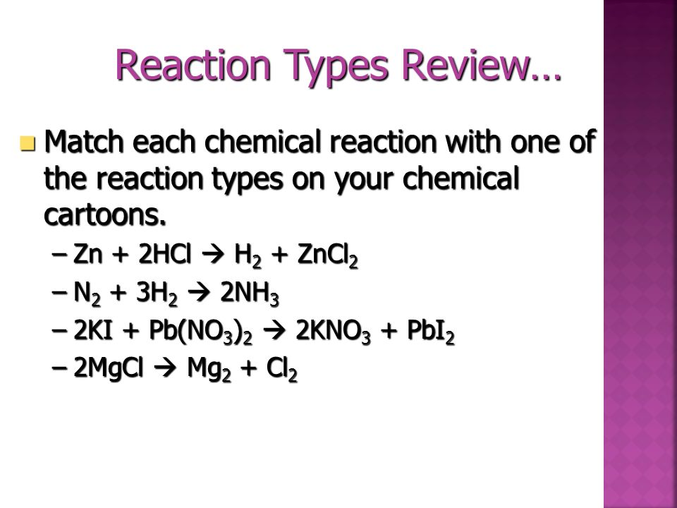Reaction Types Review…
