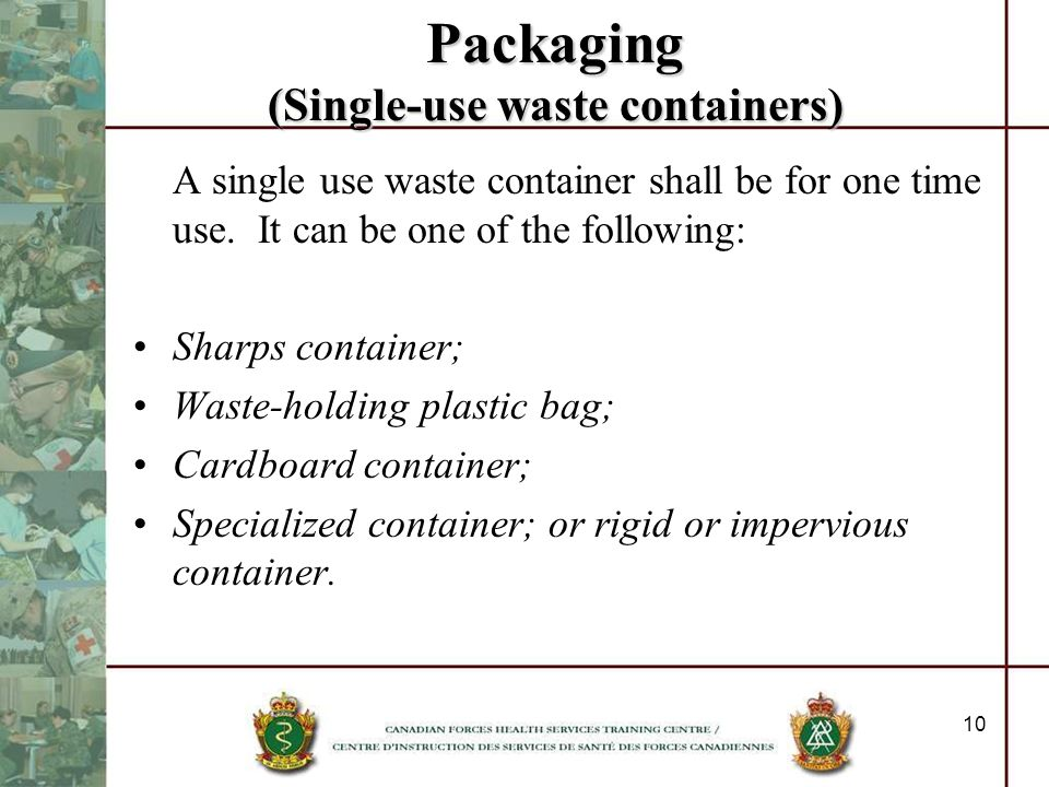 Packaging (Single-use waste containers)