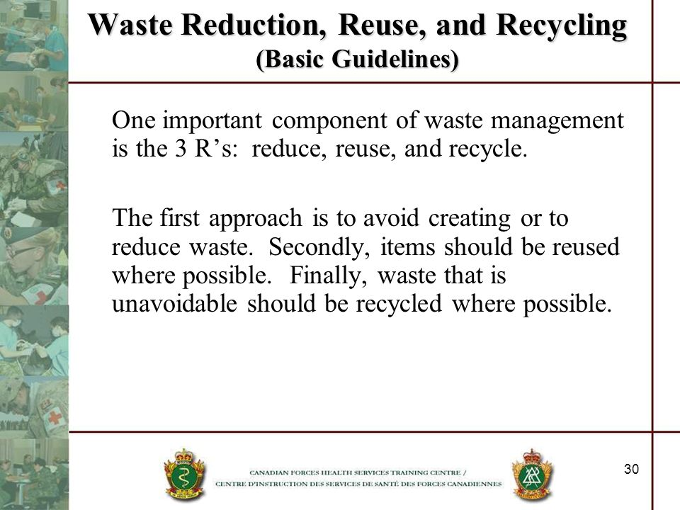 Waste Reduction, Reuse, and Recycling (Basic Guidelines)