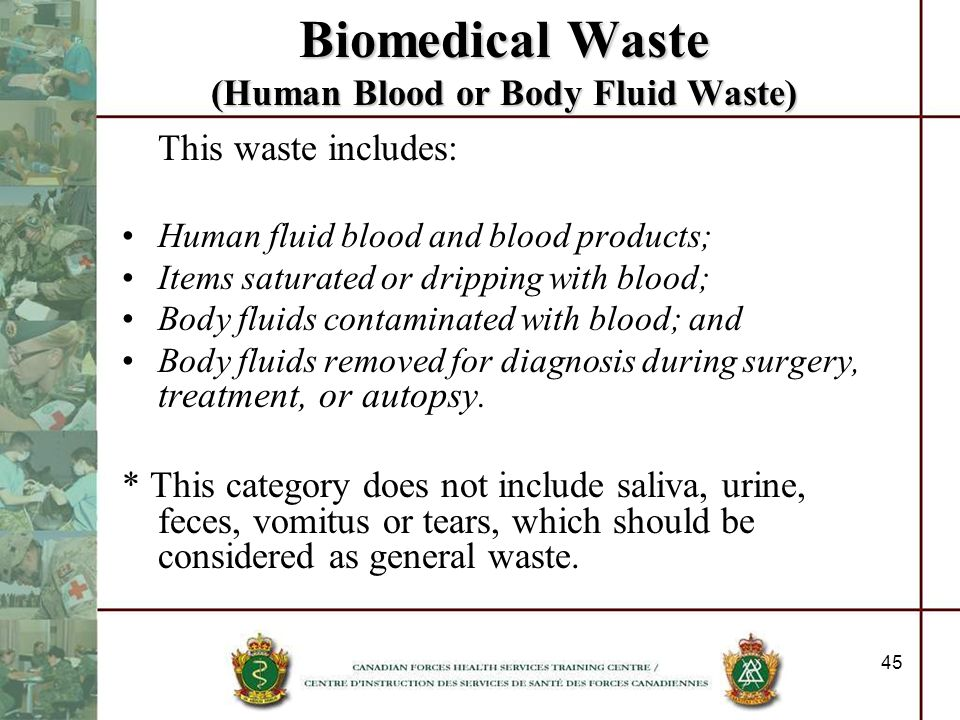 Biomedical Waste (Human Blood or Body Fluid Waste)