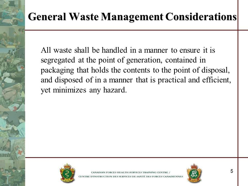 General Waste Management Considerations