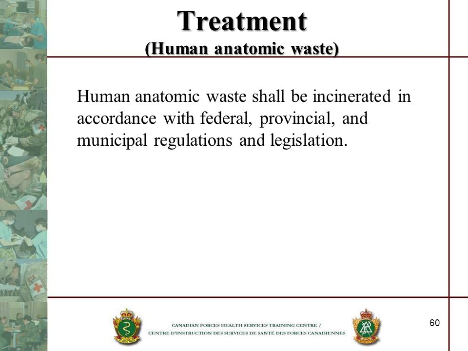 Treatment (Human anatomic waste)