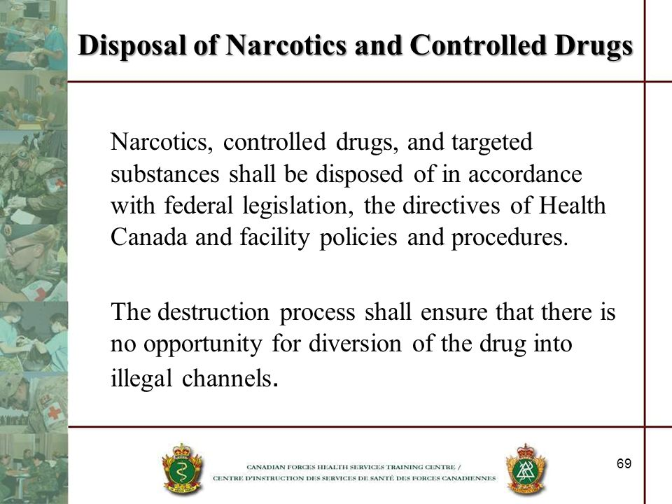 Disposal of Narcotics and Controlled Drugs