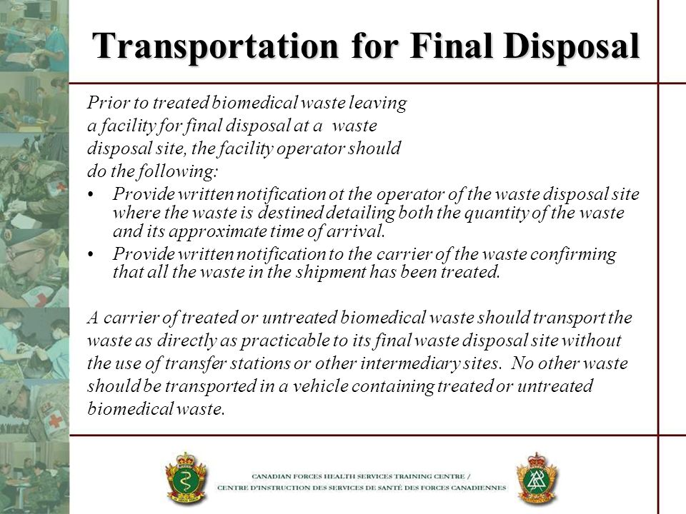 Transportation for Final Disposal