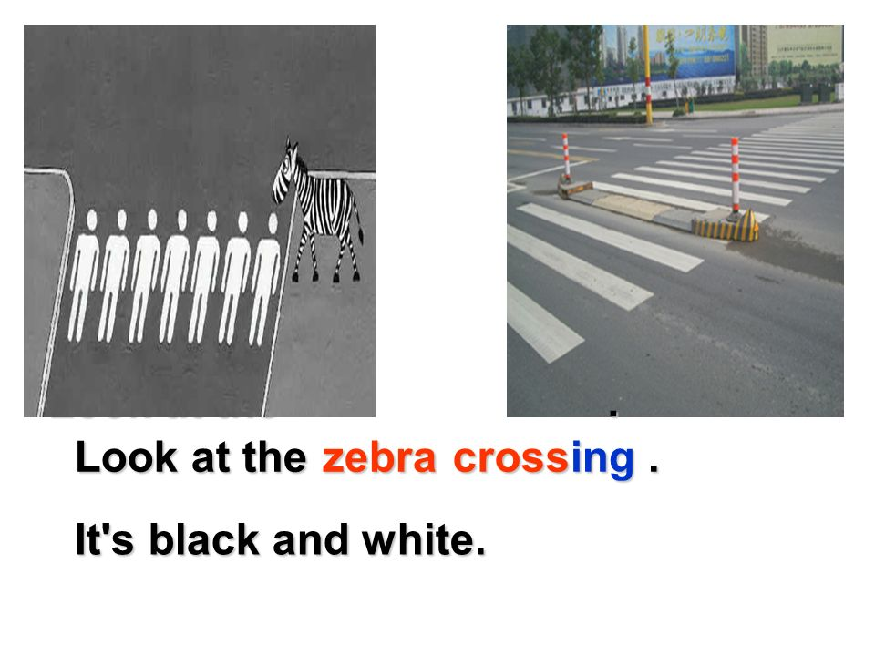 Look at the . Look at the . cross. zebra. ing.