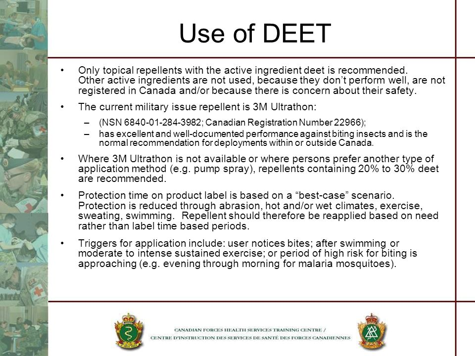 Use of DEET