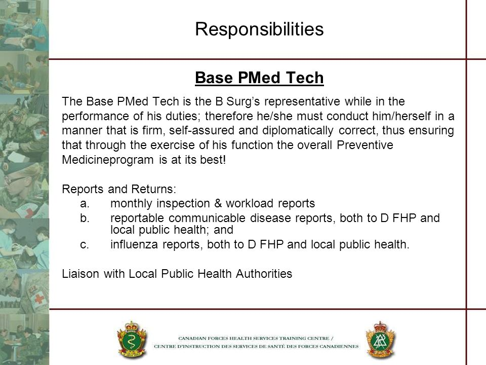 Responsibilities Base PMed Tech