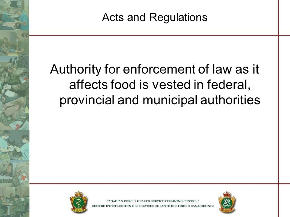 Acts and Regulations Authority for enforcement of law as it affects food is vested in federal, provincial and municipal authorities.