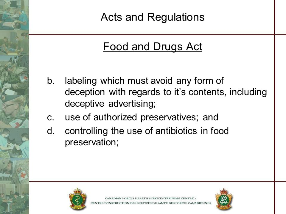 Acts and Regulations Food and Drugs Act
