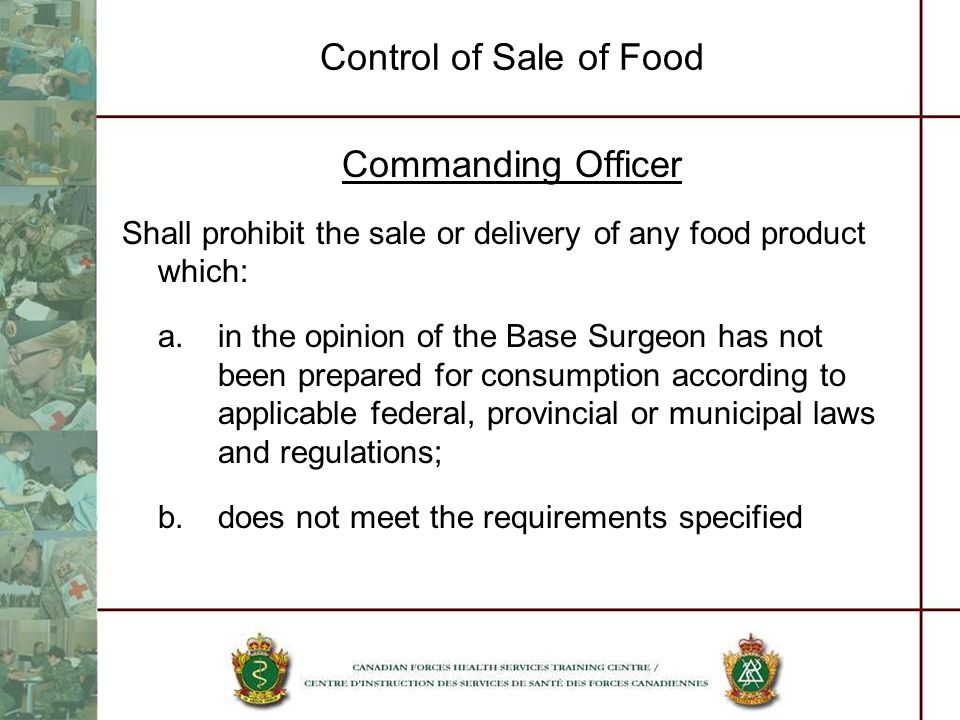 Control of Sale of Food Commanding Officer
