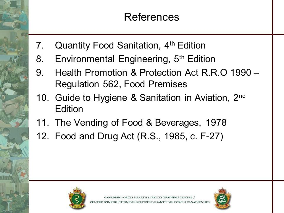 References Quantity Food Sanitation, 4th Edition
