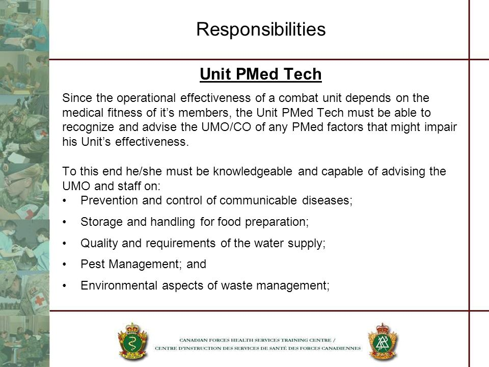 Responsibilities Unit PMed Tech