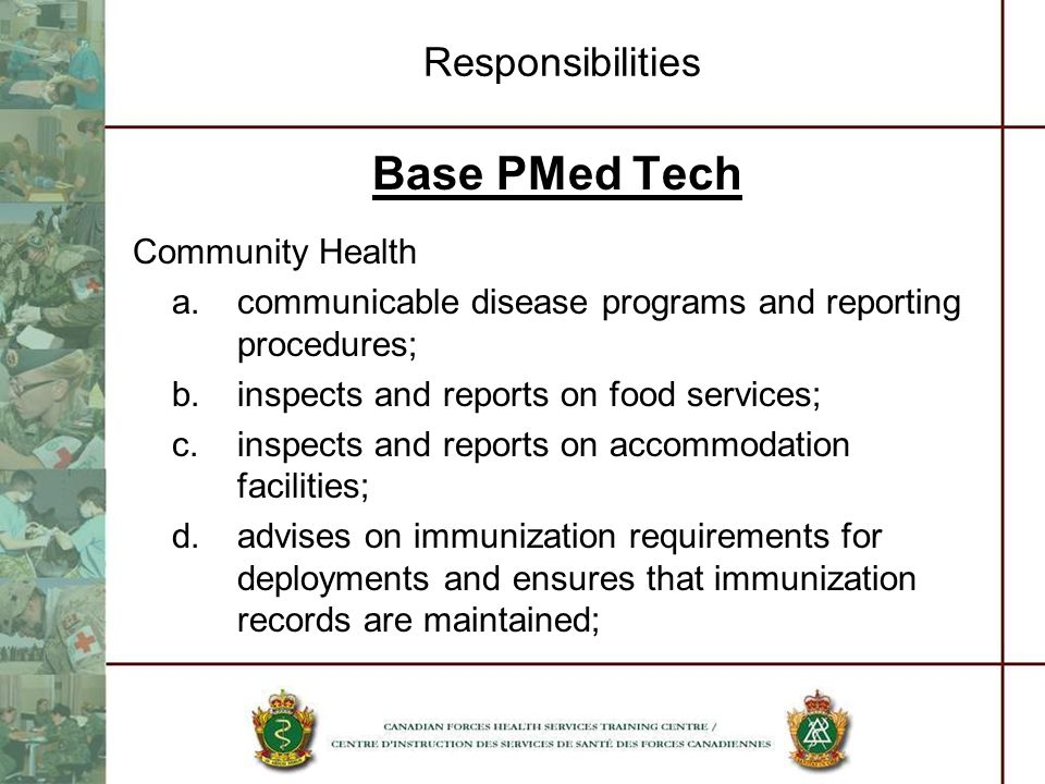 Base PMed Tech Responsibilities Community Health