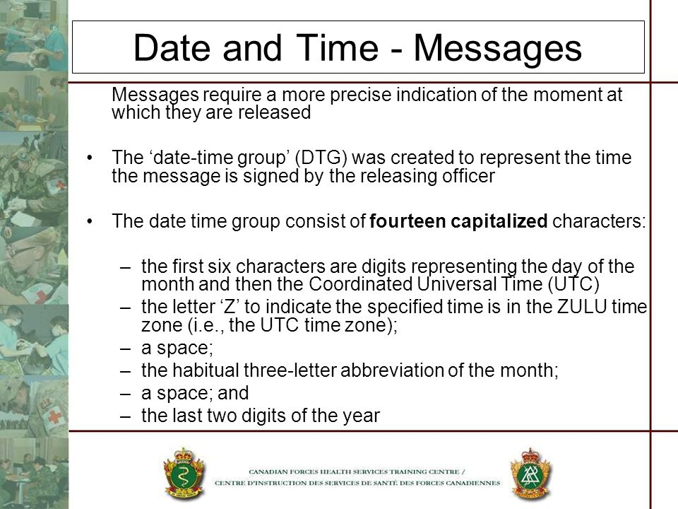 Date and Time - Messages