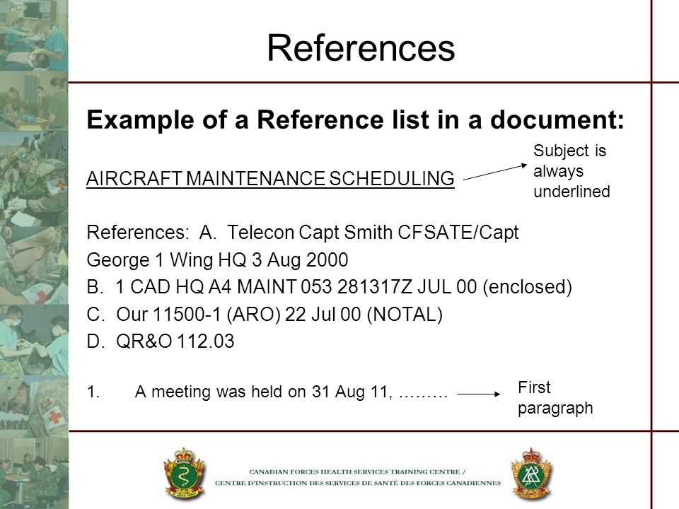 References Example of a Reference list in a document: