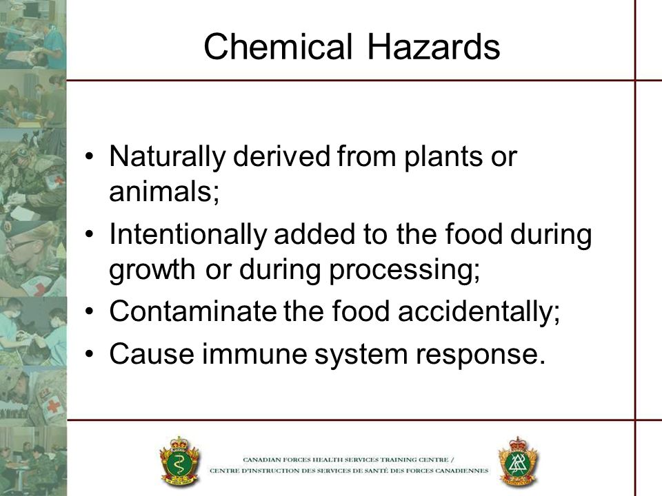 Chemical Hazards Naturally derived from plants or animals;