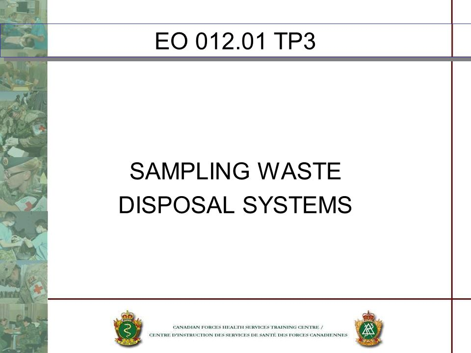 EO TP3 SAMPLING WASTE DISPOSAL SYSTEMS