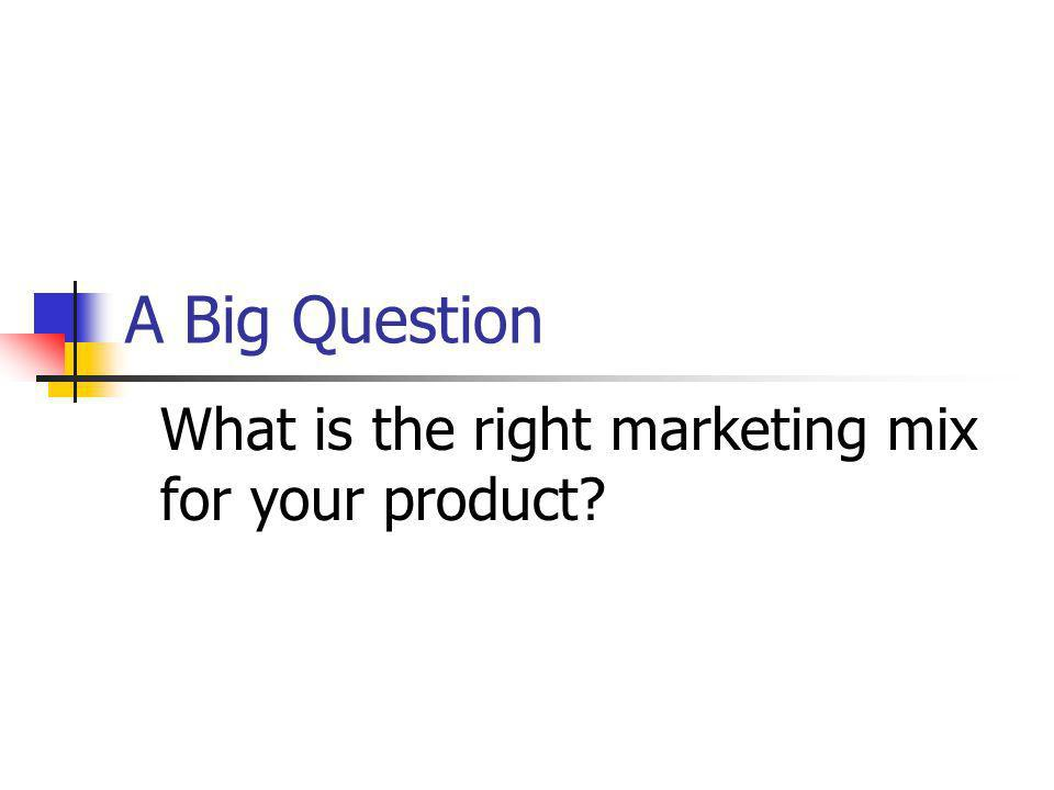 What is the right marketing mix for your product