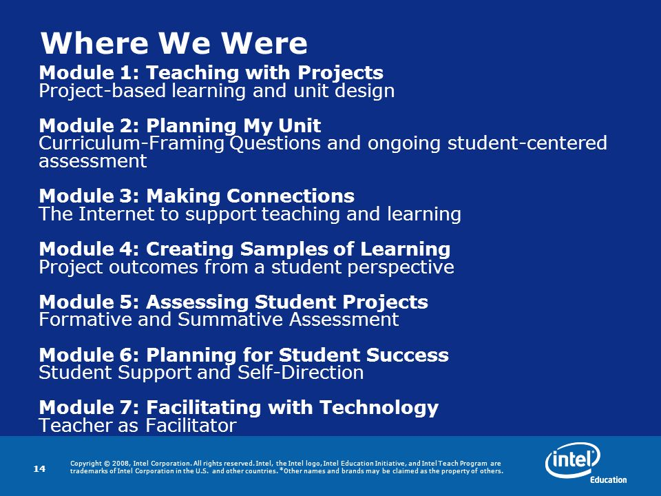 Where We Were Module 1: Teaching with Projects