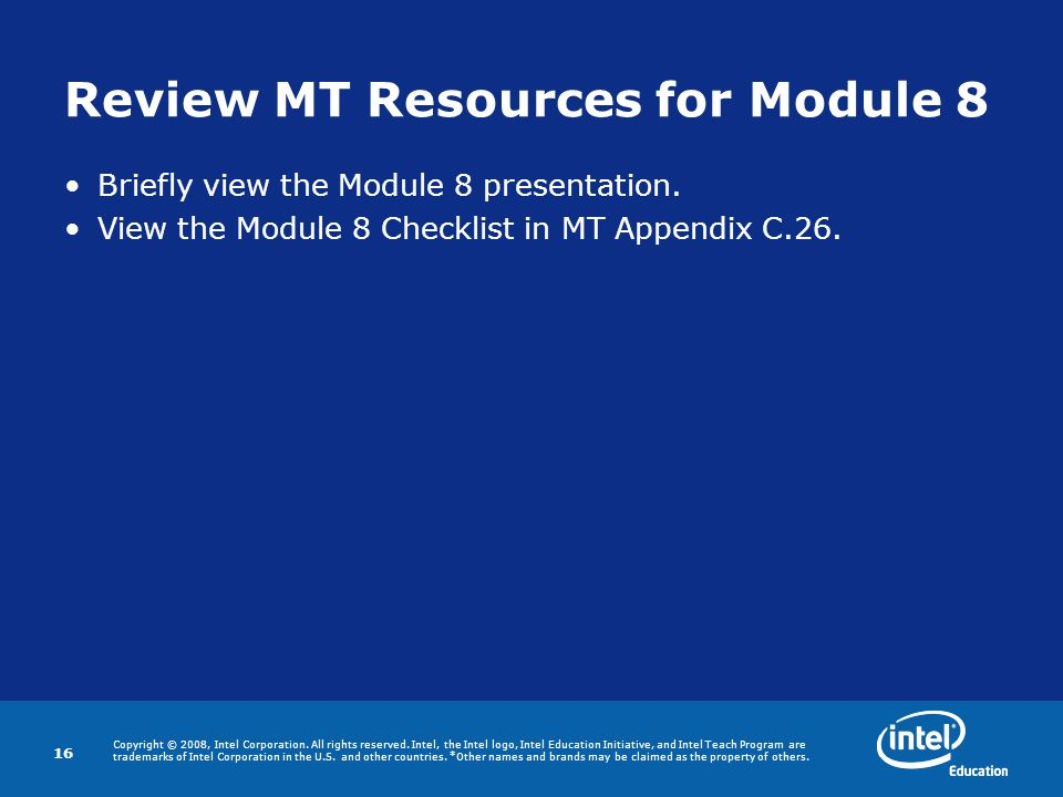 Review MT Resources for Module 8