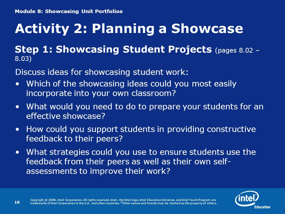 Discuss ideas for showcasing student work: