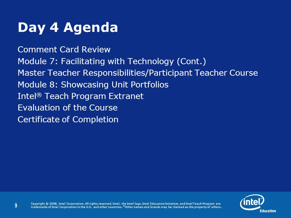 Day 4 Agenda Comment Card Review