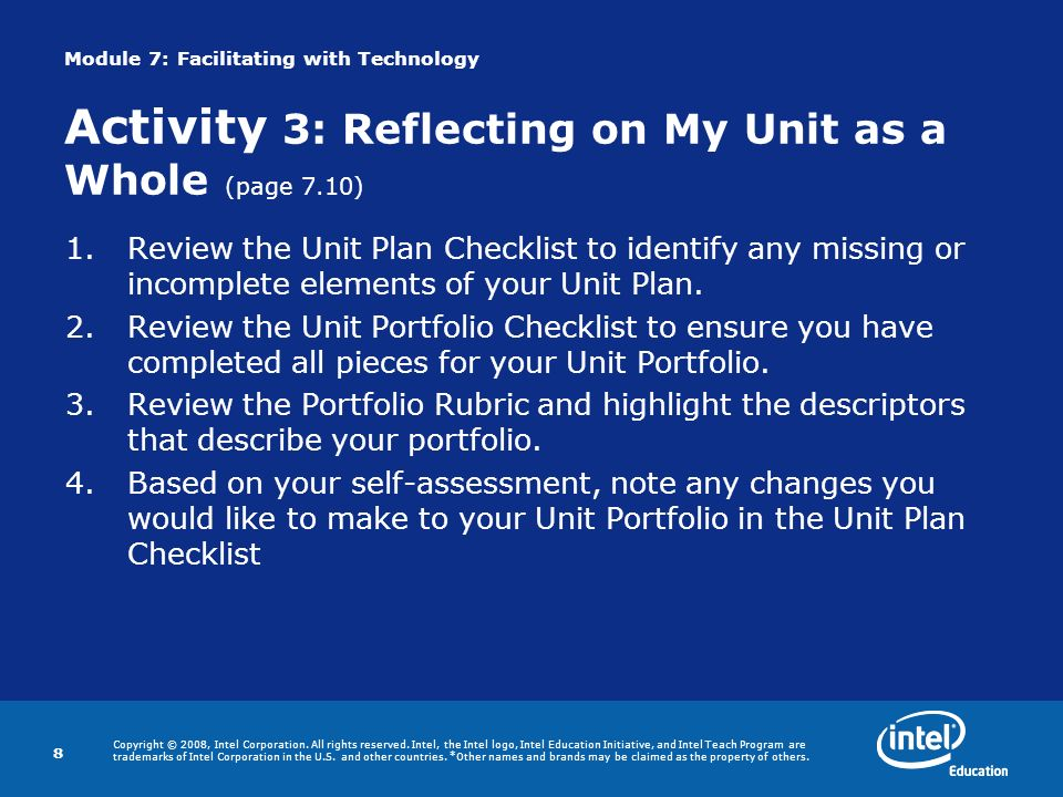Module 7: Facilitating with Technology Activity 3: Reflecting on My Unit as a Whole (page 7.10)