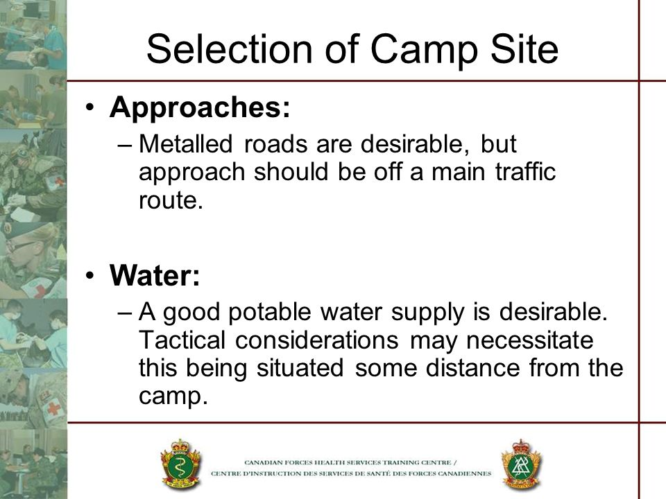 Selection of Camp Site Approaches: Water:
