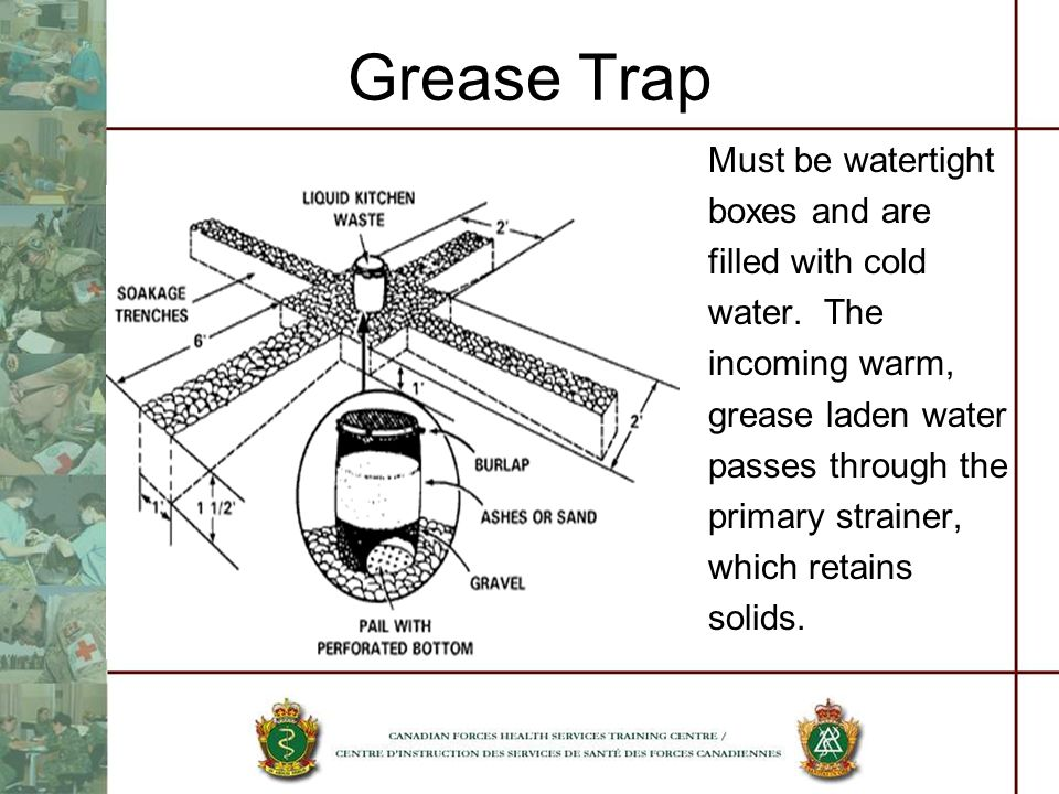 Grease Trap Must be watertight boxes and are filled with cold
