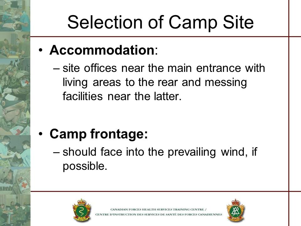 Selection of Camp Site Accommodation: Camp frontage: