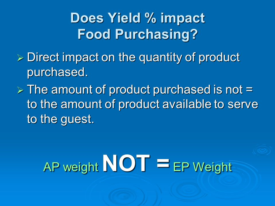 Does Yield % impact Food Purchasing