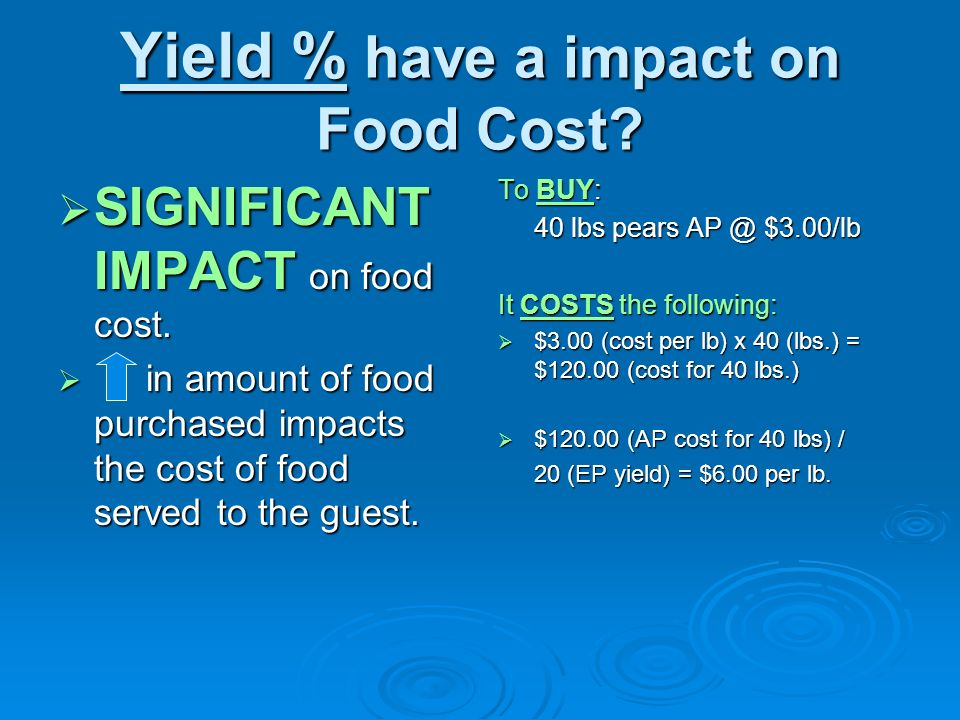 Yield % have a impact on Food Cost