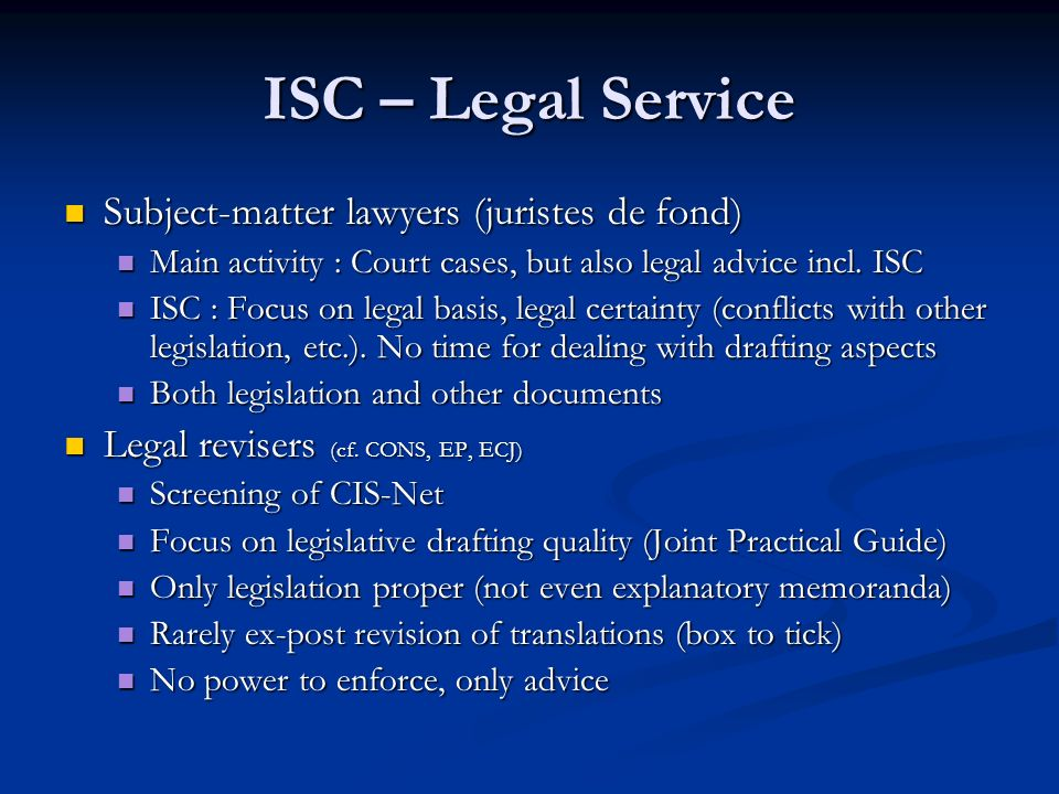 ISC – Legal Service Subject-matter lawyers (juristes de fond)