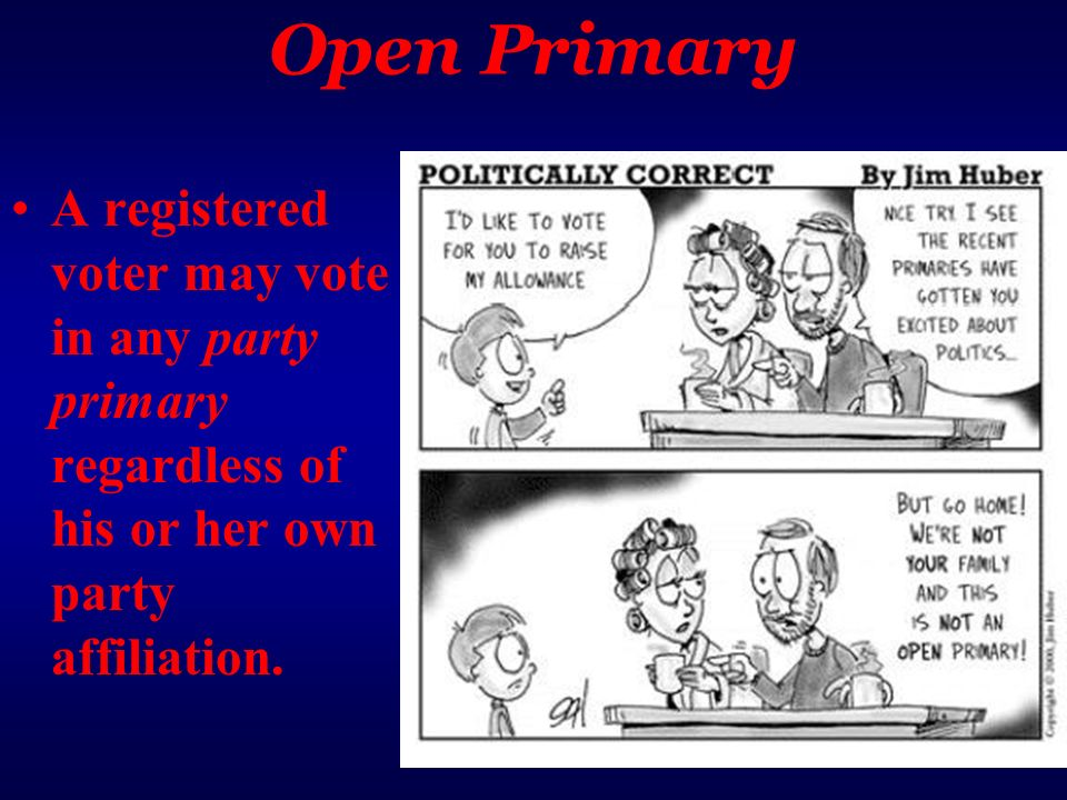 Open Primary A registered voter may vote in any party primary regardless of his or her own party affiliation.
