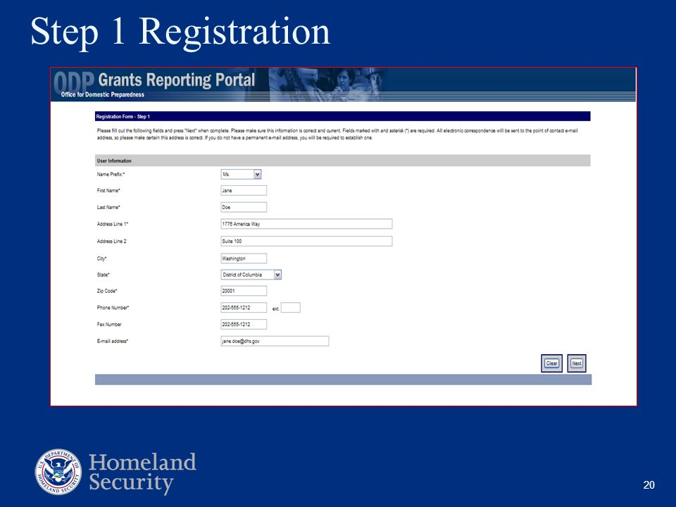 Step 1 Registration No home numbers All required except the fax